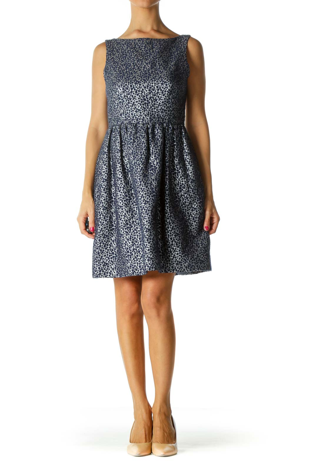 Blue Silver Textured Cinched Waist Dress