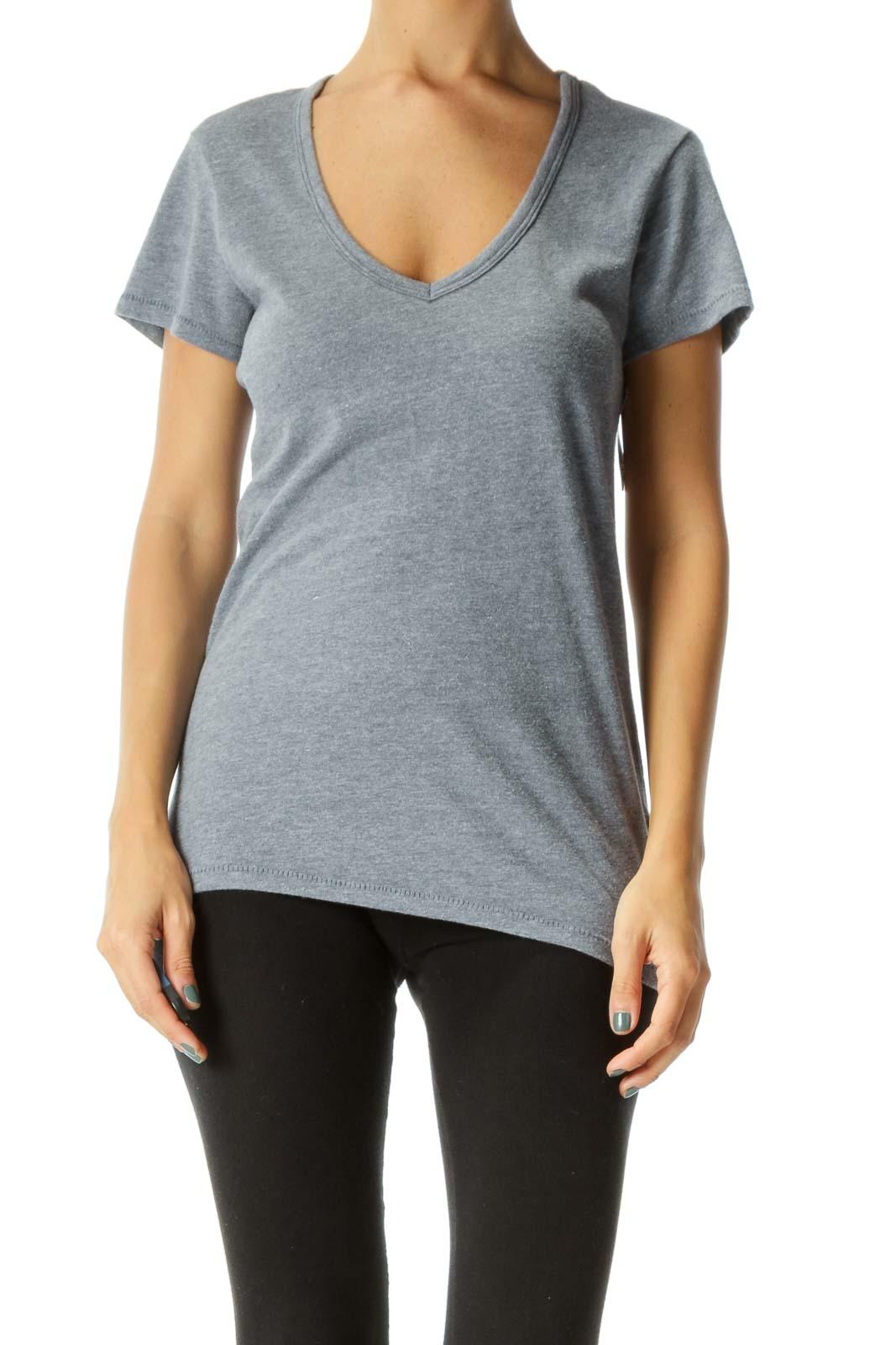 Gray Blue V-Neck Soft T-Shirt
