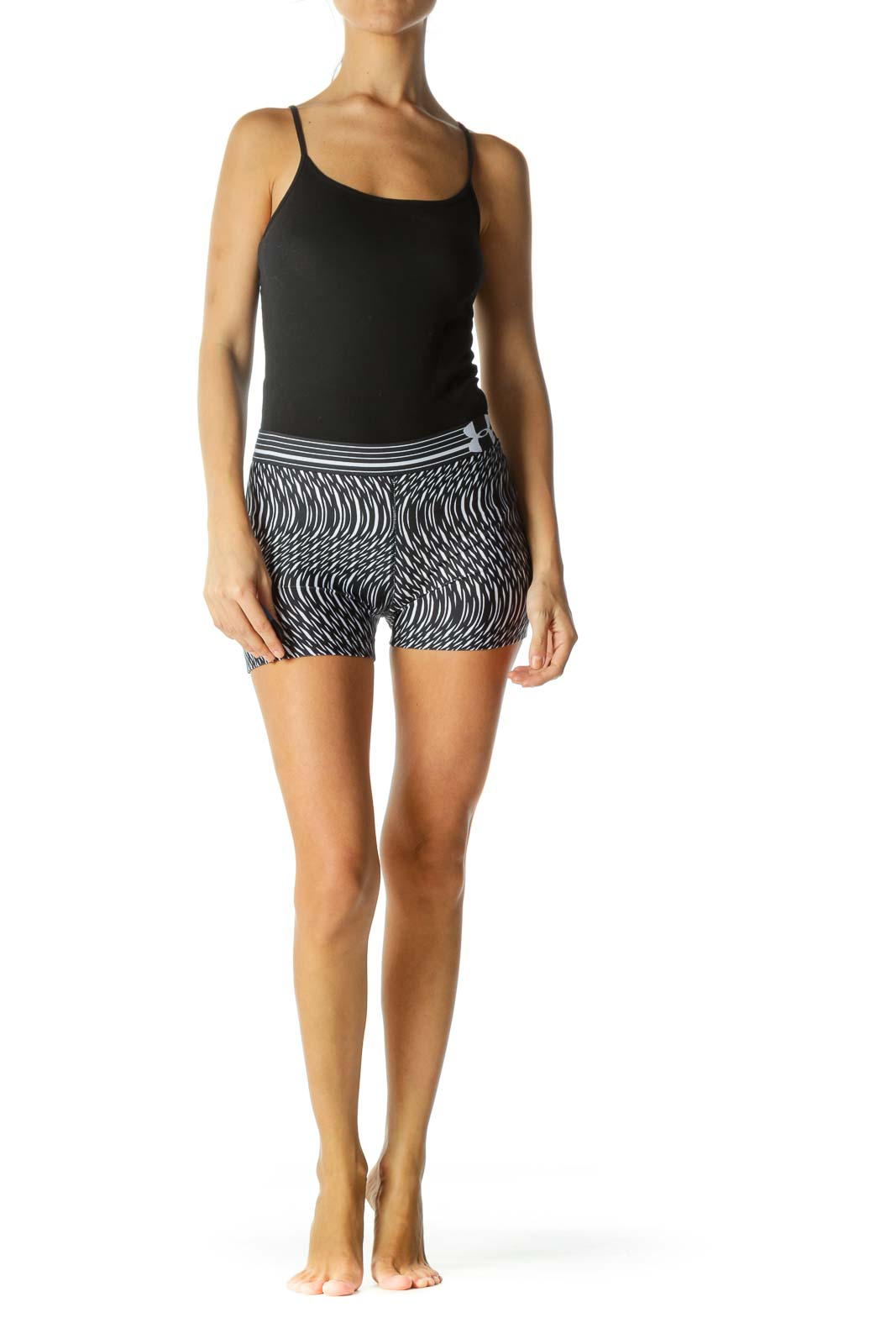 Black White Abstract Print Elastic Band Stretch Shorts