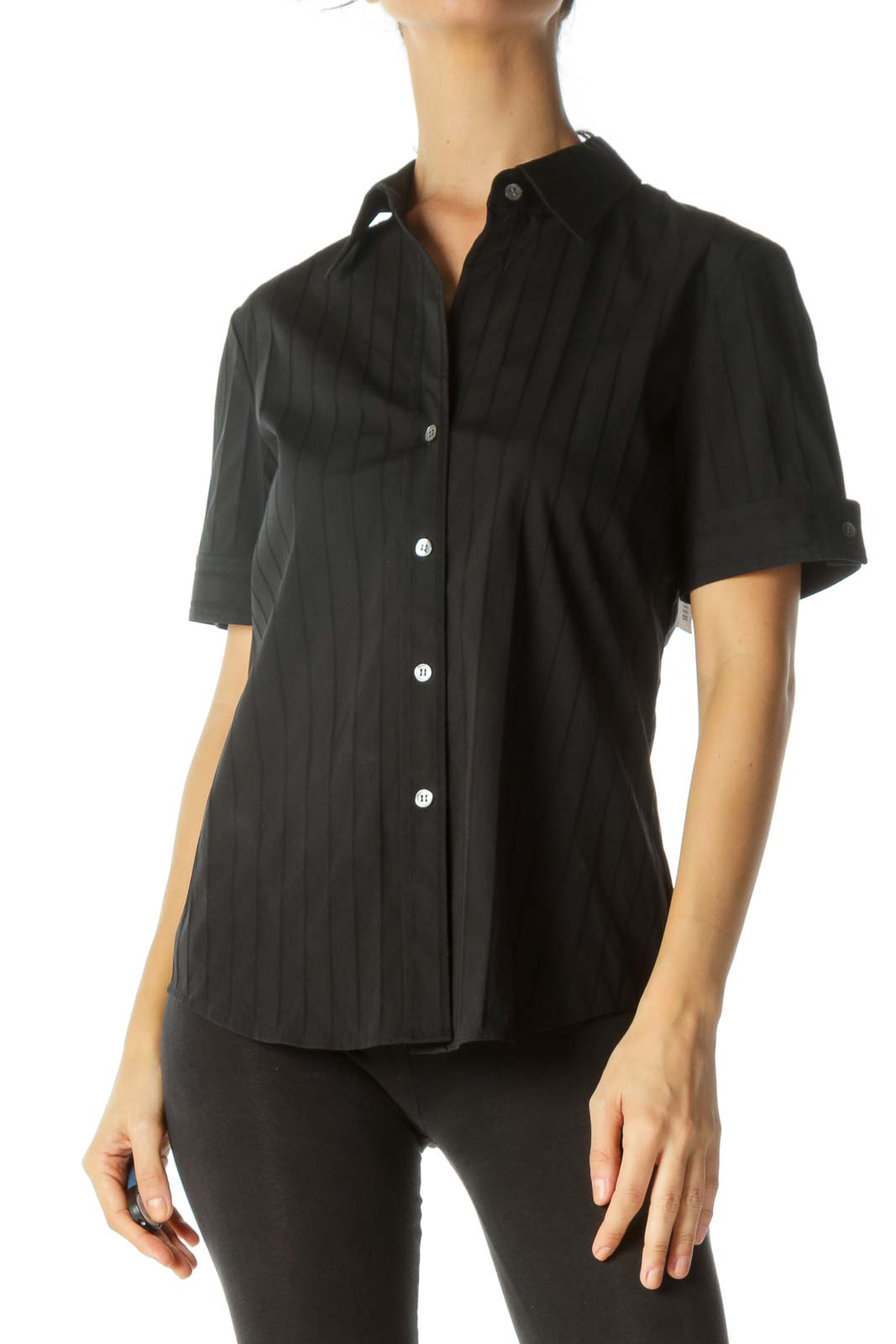 Black Cotton Pleated Short Blouse