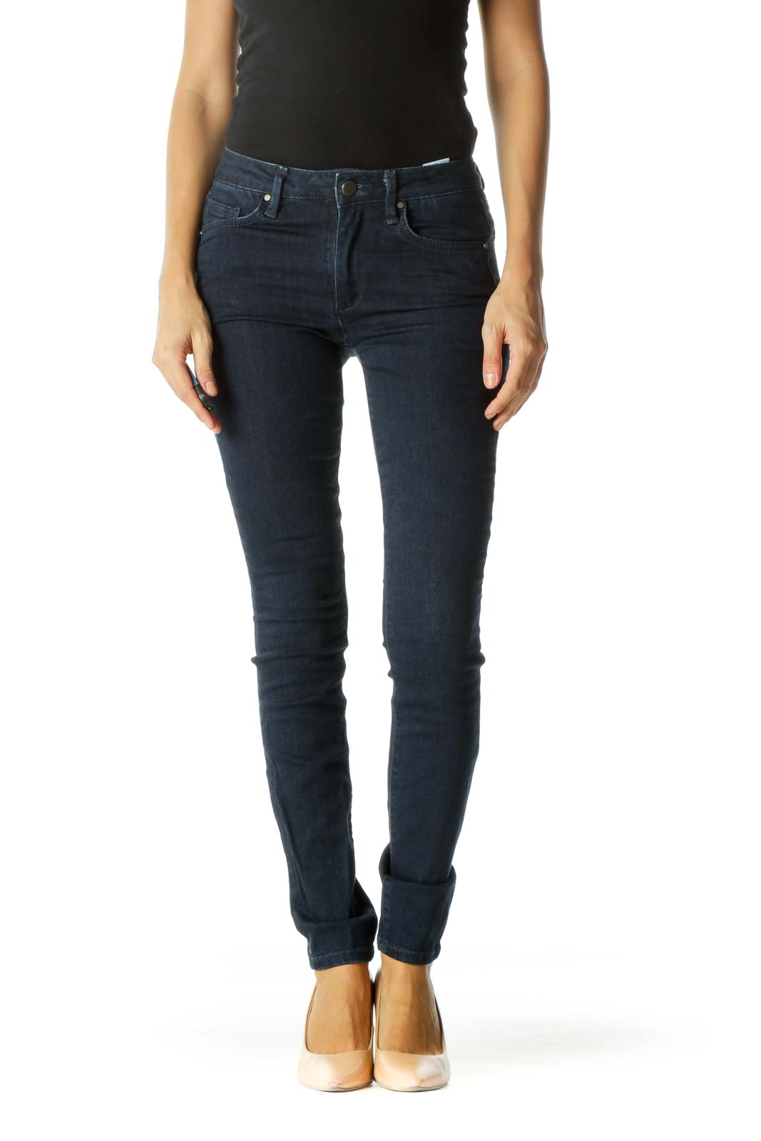 Blue Dark Wash Pocketed Skinny Stretch Pants