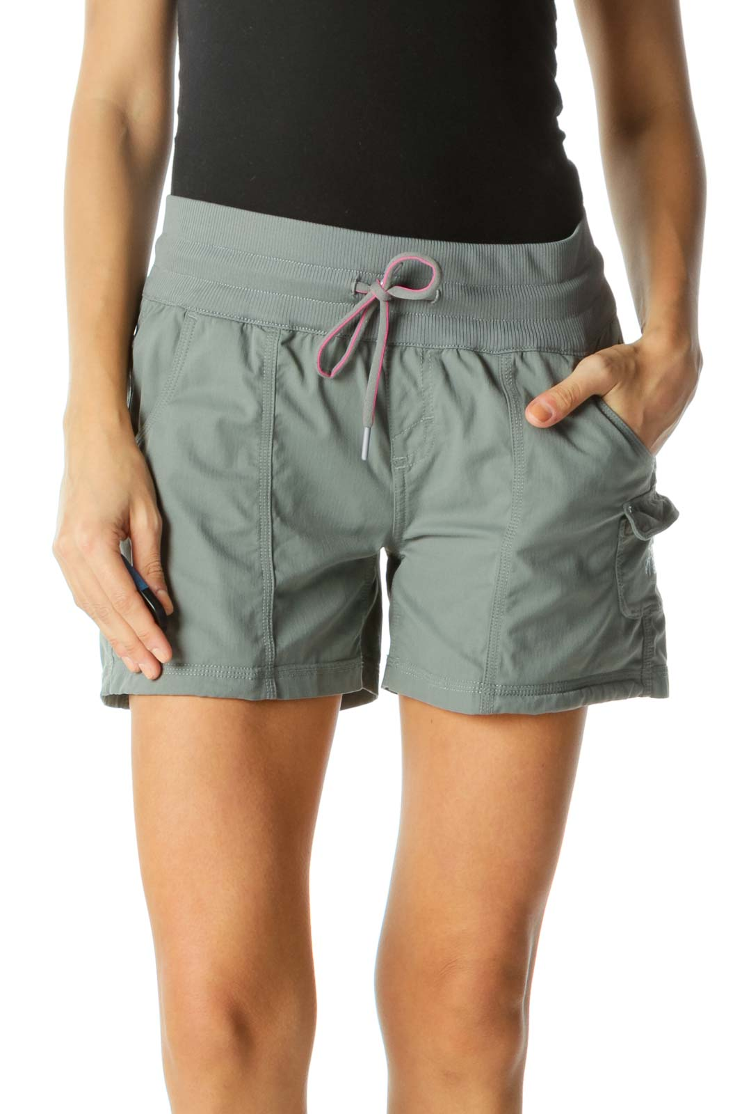 Gray Hot Pink-Drawstring Detail Pocketed Stretch Active Shorts