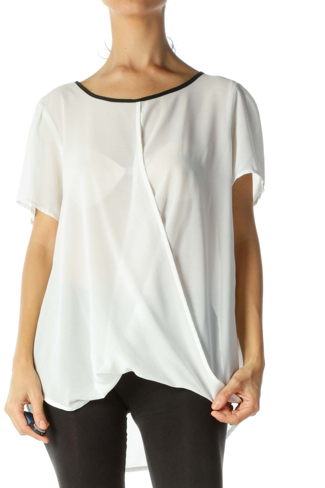 White&Black Sheer Wrap Top