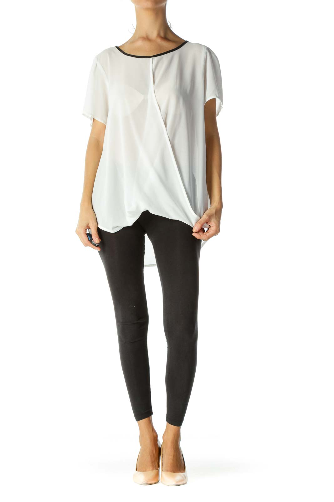 White&Black Sheer Wrap Top
