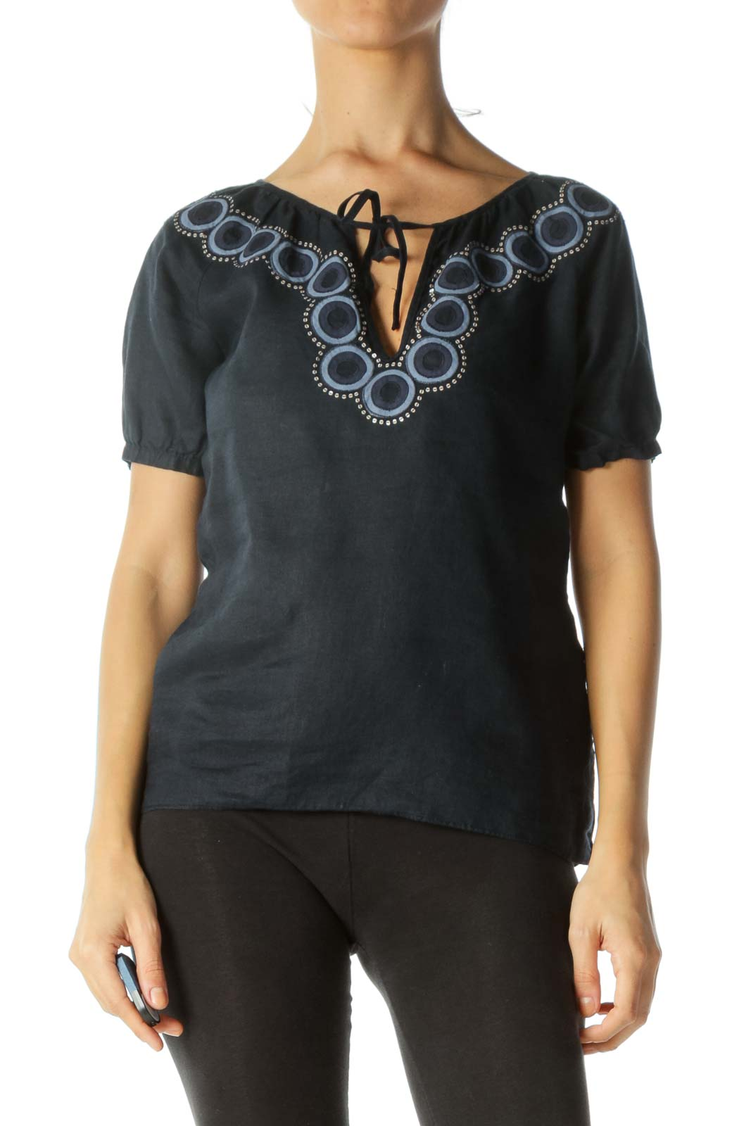 Navy Blue Linen Embroidered Top