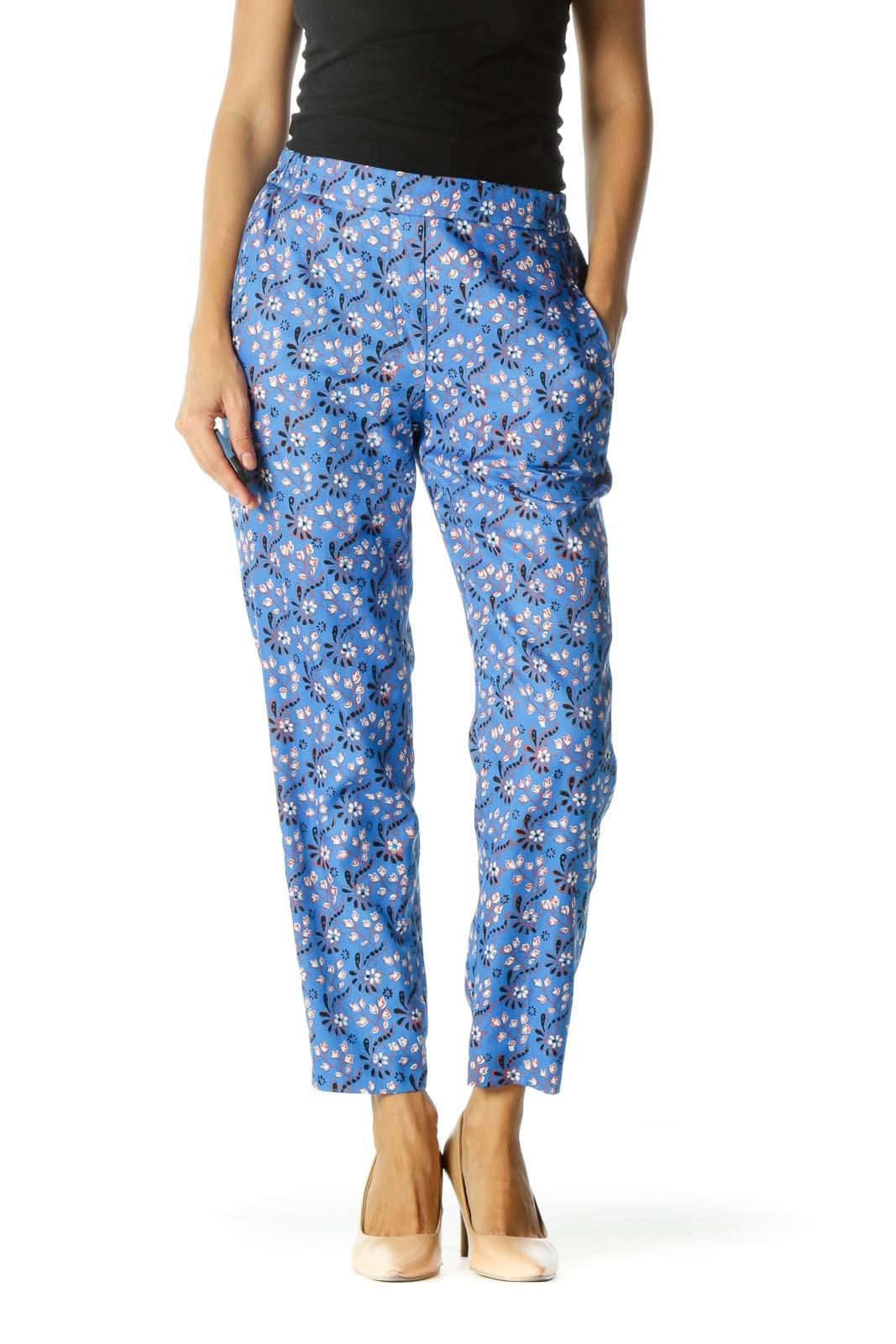 Blue Floral Print Elastic Waist Pant