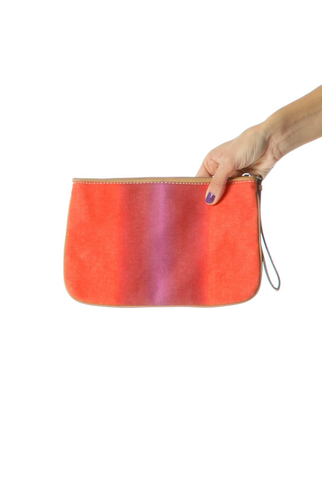 Orange Purple Brown Zippered Medium SIze Wristlet