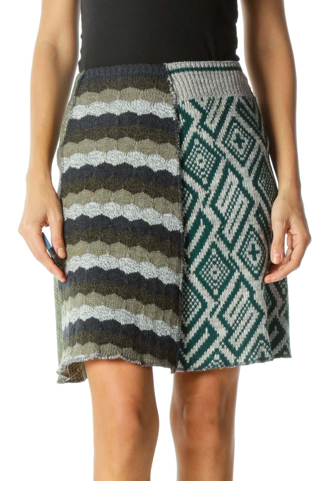 Multicolor A-Line Knit Skirt