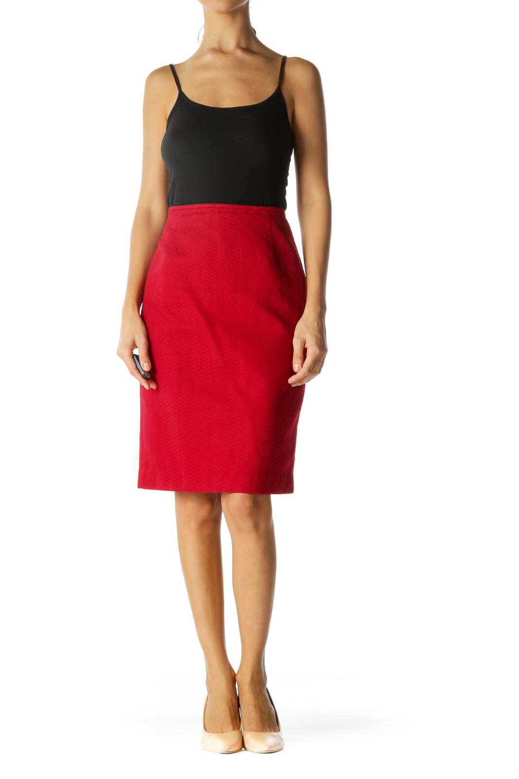Red Textured Cinched Waist Slitted Pencil Skirt