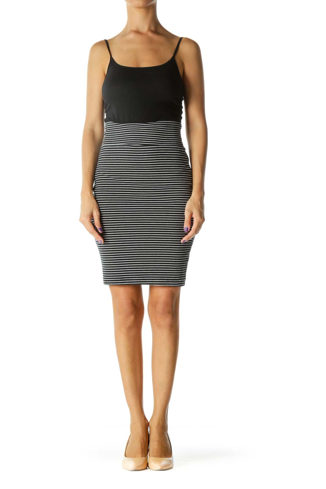 Black White Striped Slim Stretch Pencil Skirt