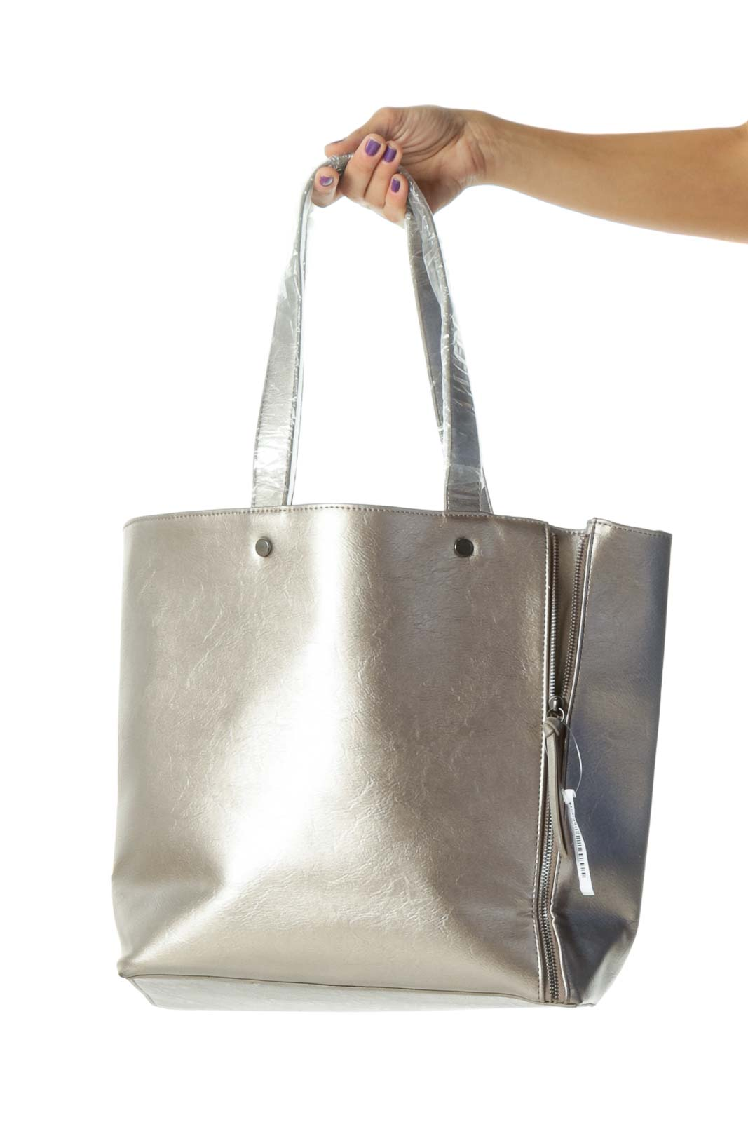 Silver Gray Open Zippers and Tassels Details Open Tote