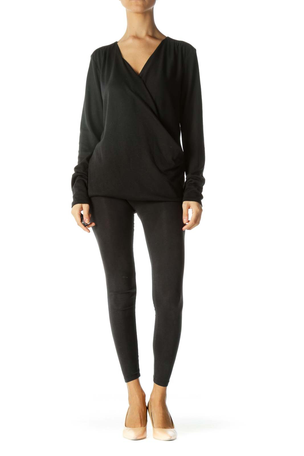 Black One Small Snap Button Surplice Long Sleeve Knit Top