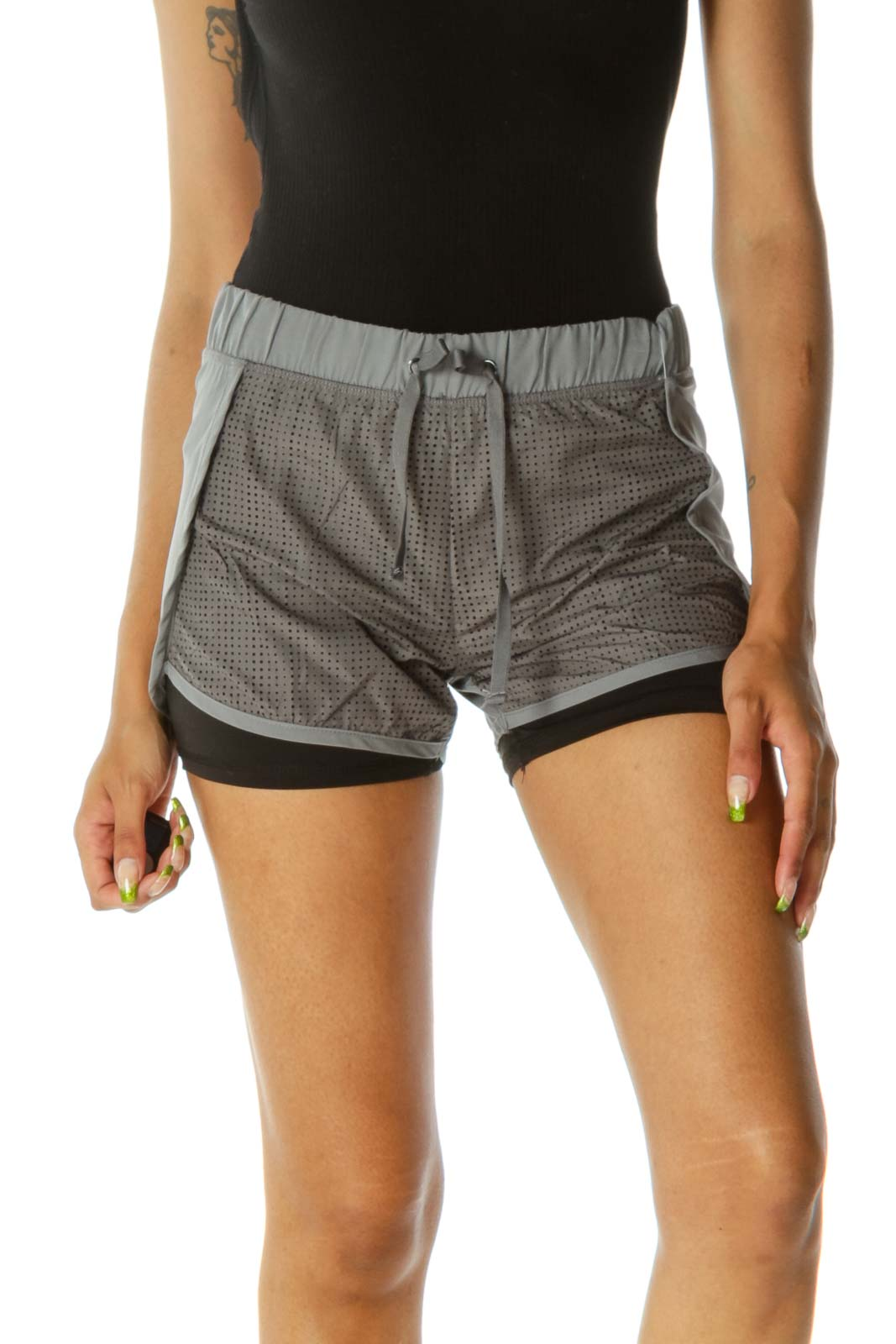 Gray Black Inside-Shorts Cut-Out Mesh Front Shorts