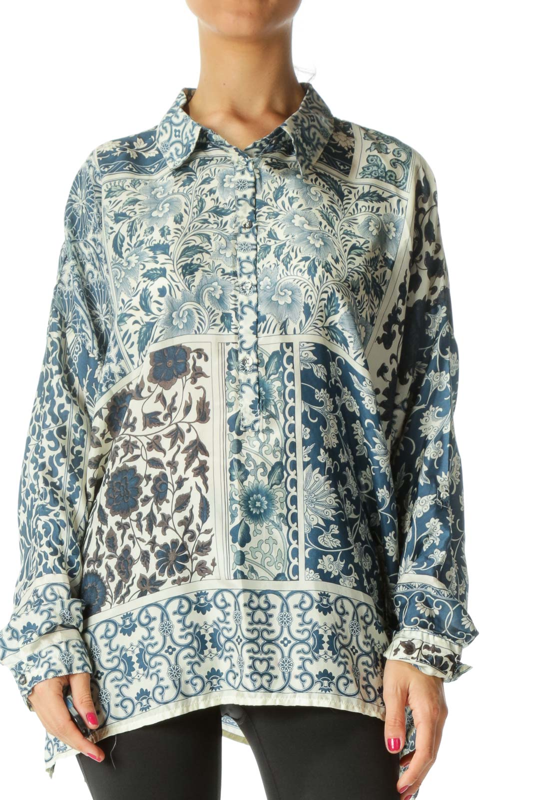 Blue Printed 100% Silk Shirt