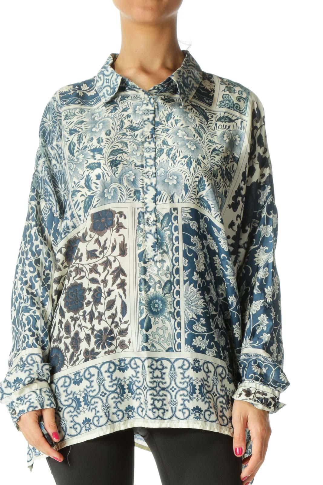 Blue Printed 100% Silk Shirt
