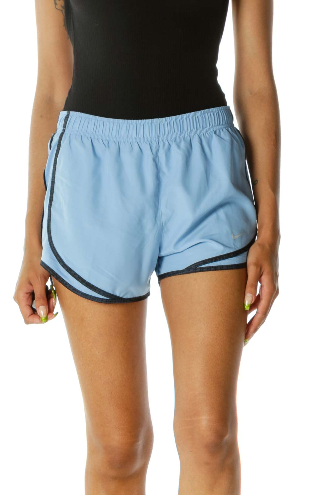 Light Blue with Navy Blue & Black Print Piping Detail Active Shorts