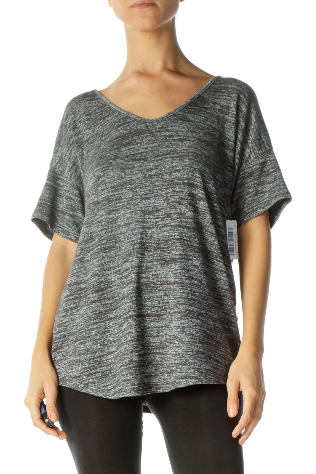 Gray Mottled Round Neck Short Sleeve Knit Top