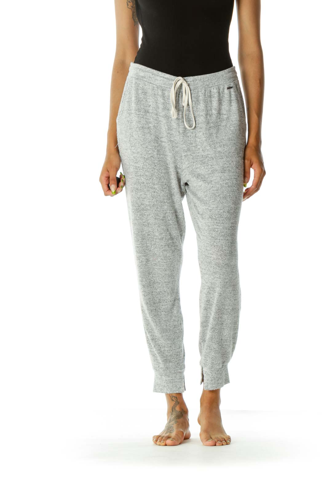 Gray Mottled Drawstring Stretch Comfy Pocketed Joggers