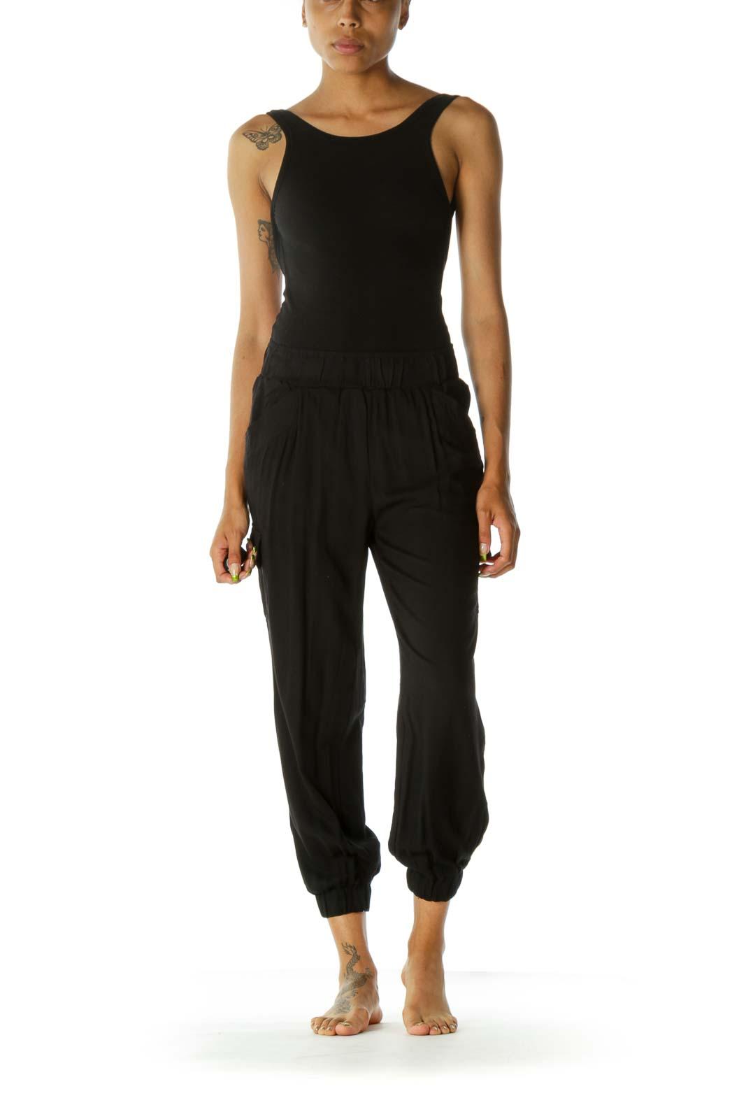 Black Pocketed Loose Elastic Ankles and Waistband Pants