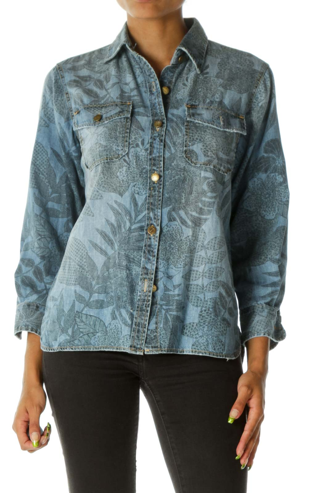 Blue Printed Denim Shirt