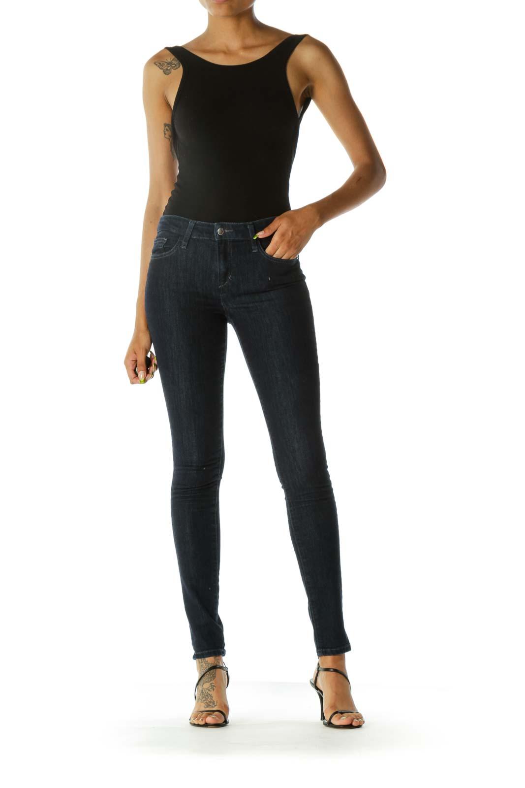 Blue Dark-Wash Cotton Blend Stretch Thin Pocketed Denim Pants