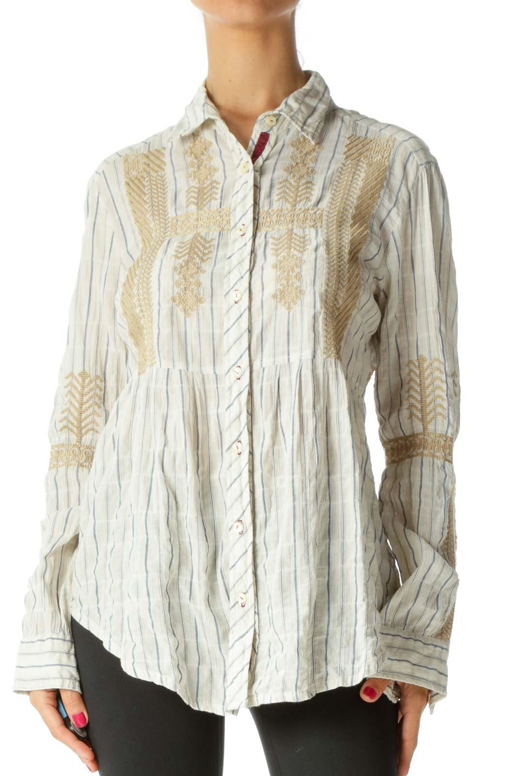Beige Embroidered Cotton Shirt