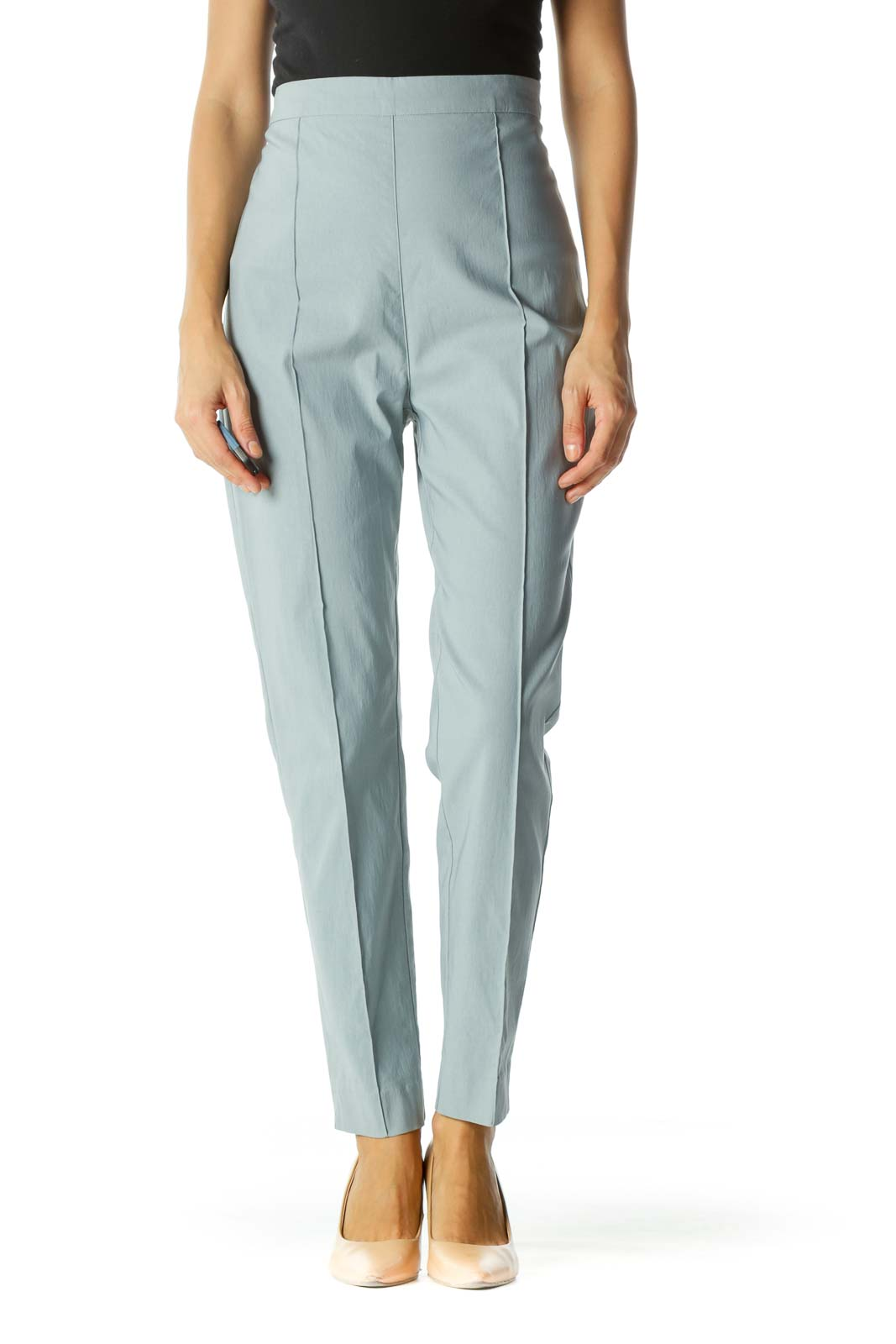 Light Blue Raised Center Seam Zippered Skinny Pants