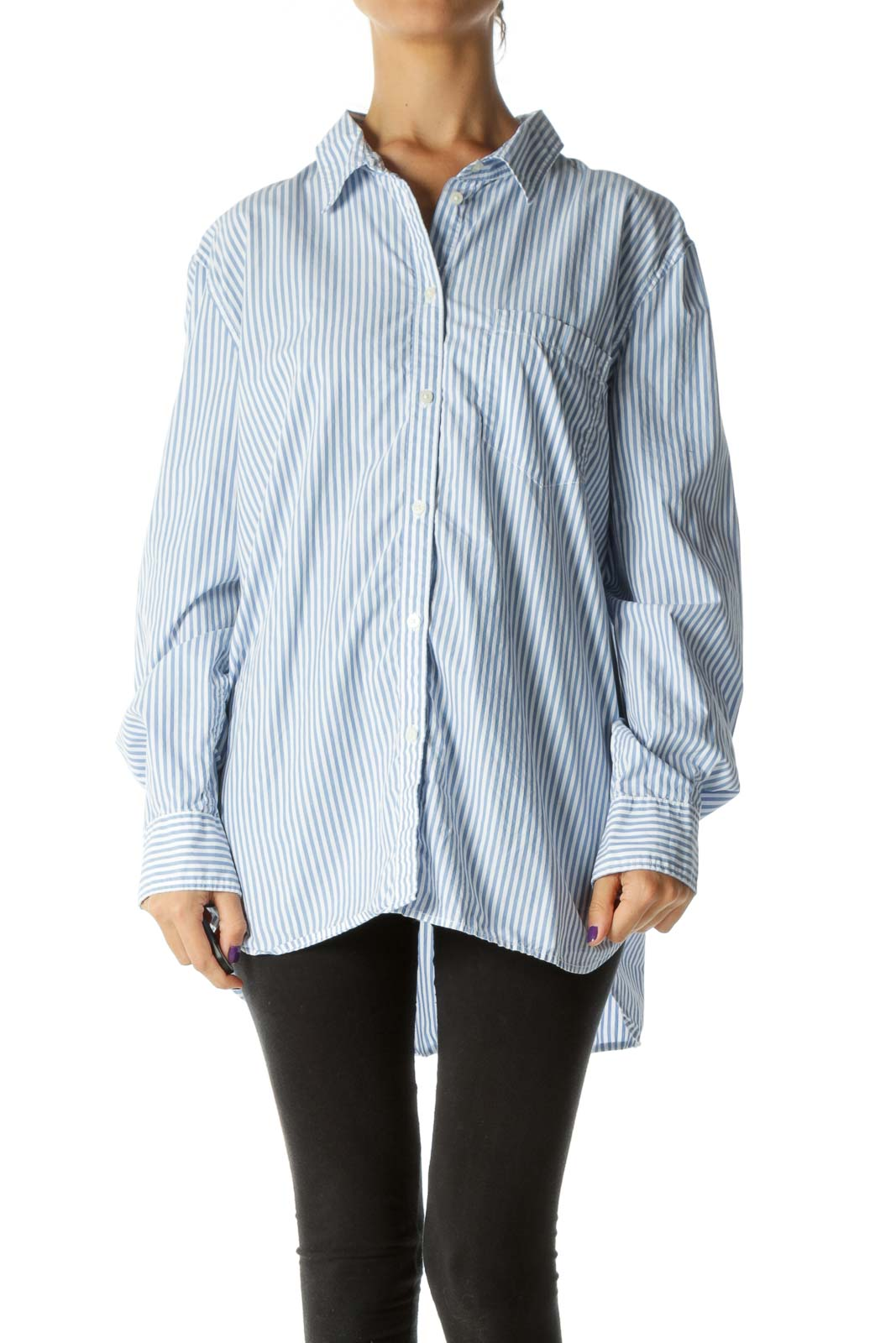 Blue White 100% Cotton Striped Buttoned Shirt
