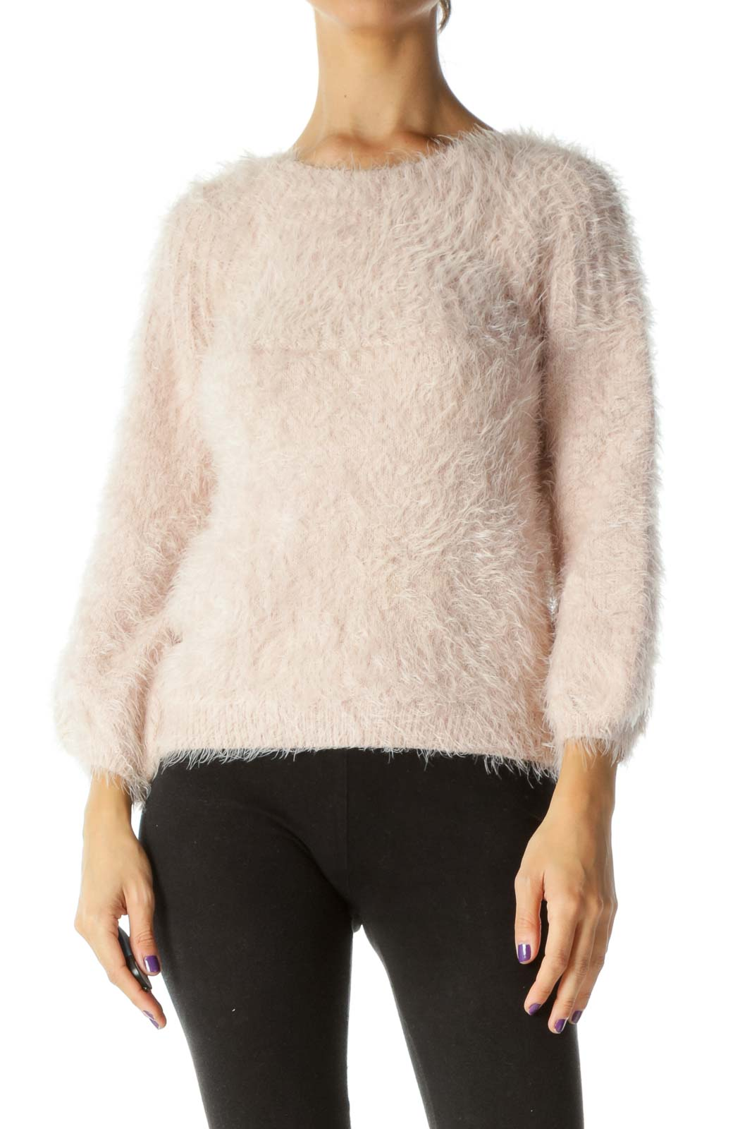 Pink Fluffy Soft Texture Long Sleeve Knit Sweater