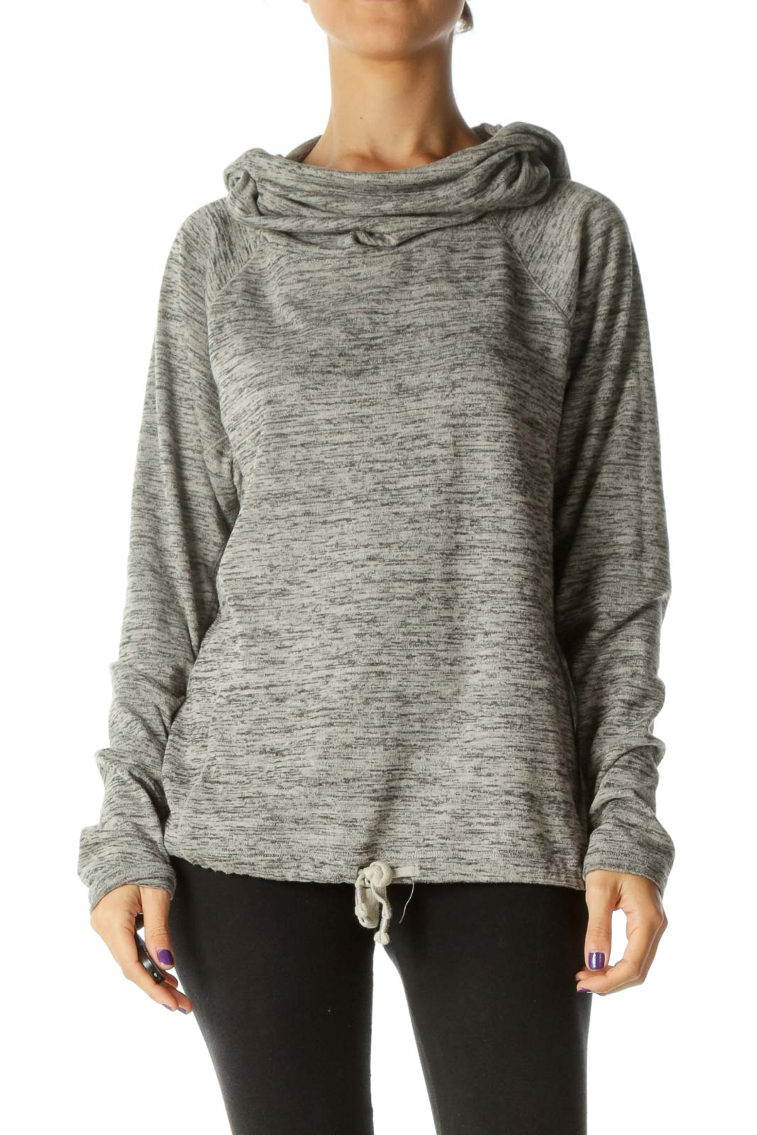 Gray Mottled Hooded Cowl Neck Drawstring Detail Active Jacket