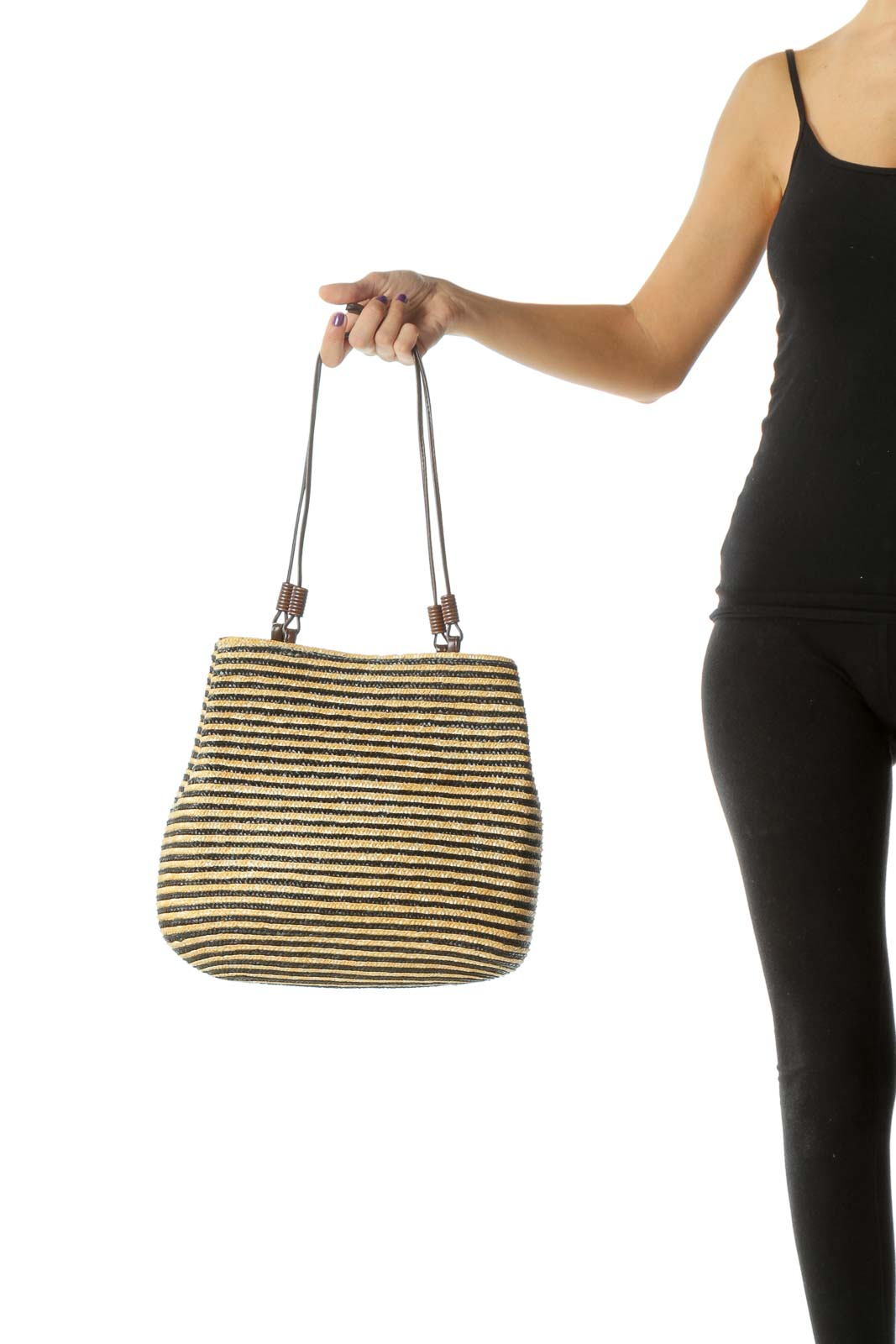 Yellow Black Grown Wheat Straw Weaved Magnetic Closure Bag