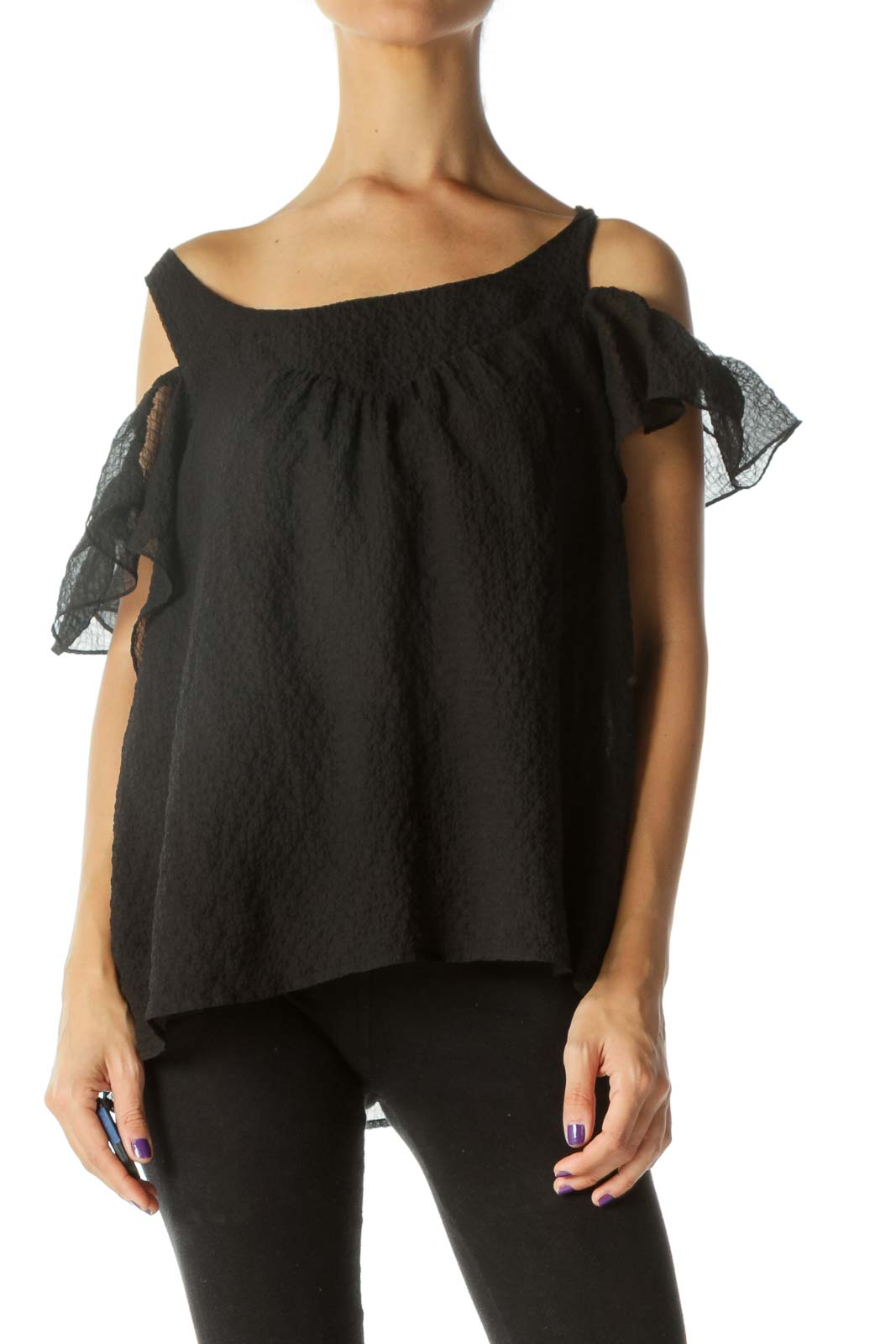 Black Round Neck Cold-Shoulder Flared Textured Top