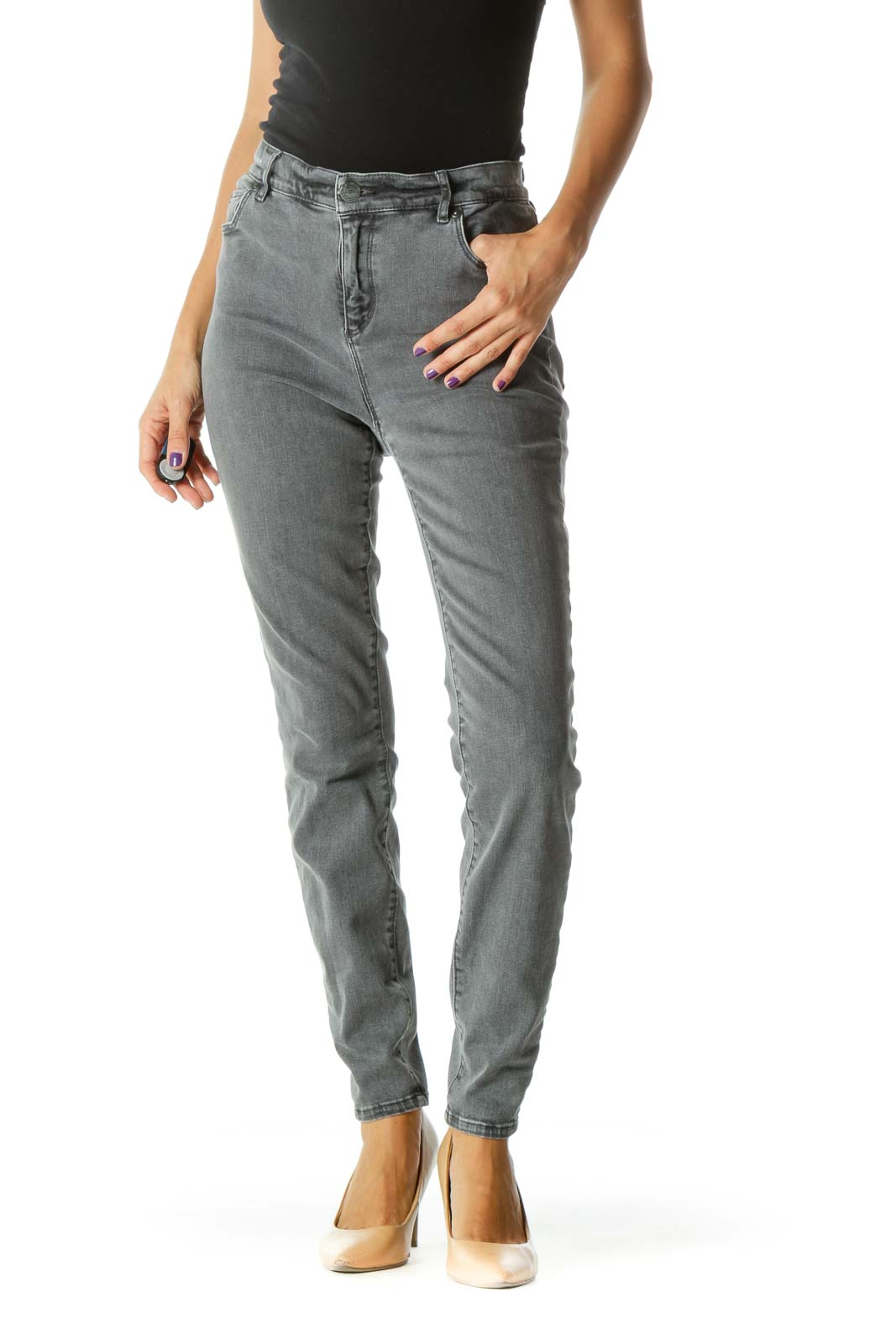 Gray Slim Fit Stretch High Rise Pants