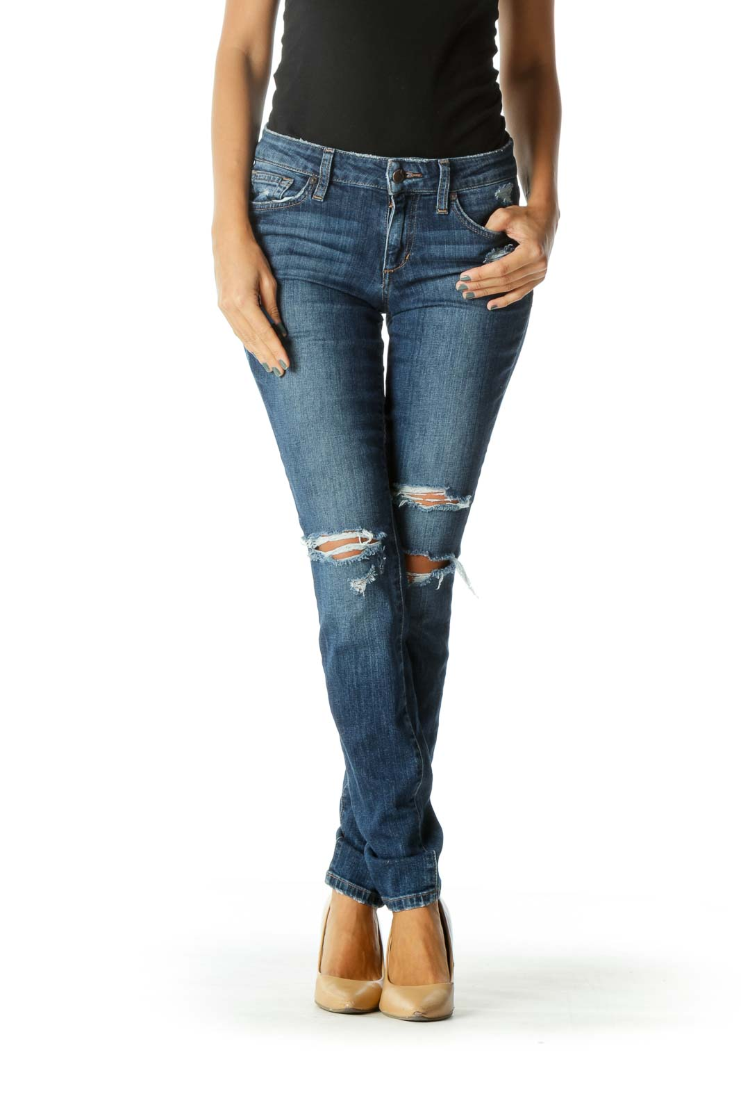 Blue Medium Wash Distressed Skinny Stretch Denim Jeans