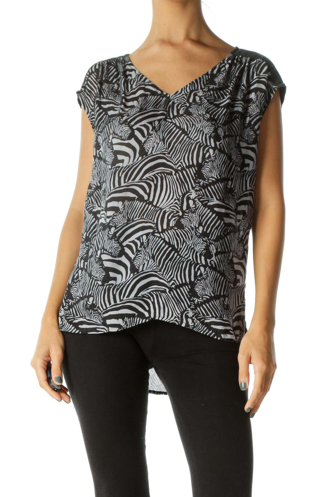 Faded Black Gray 100% Silk Print V-Neck Light Knit Top