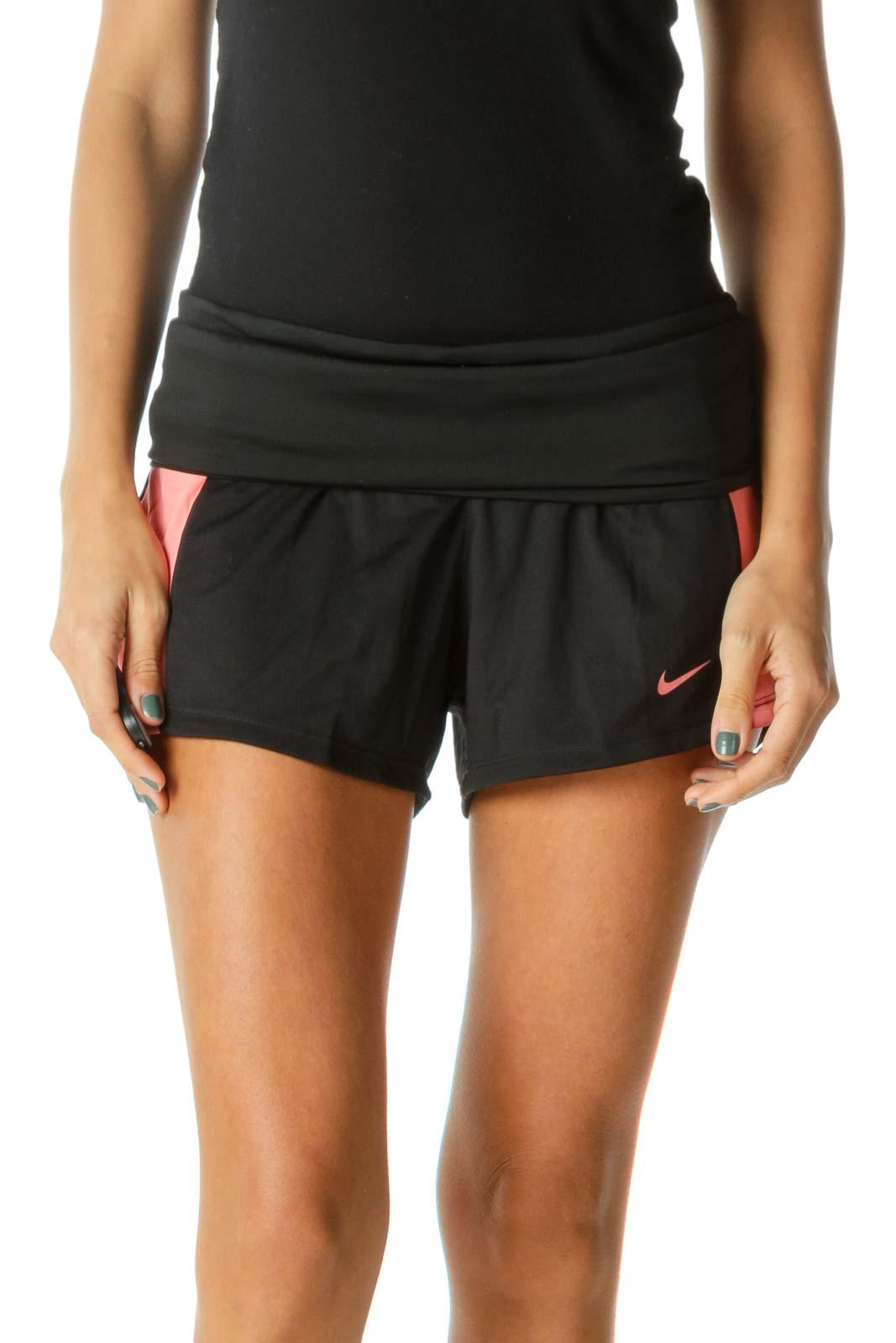 Black Pink Inside Drawstring Stretch Sports Shorts