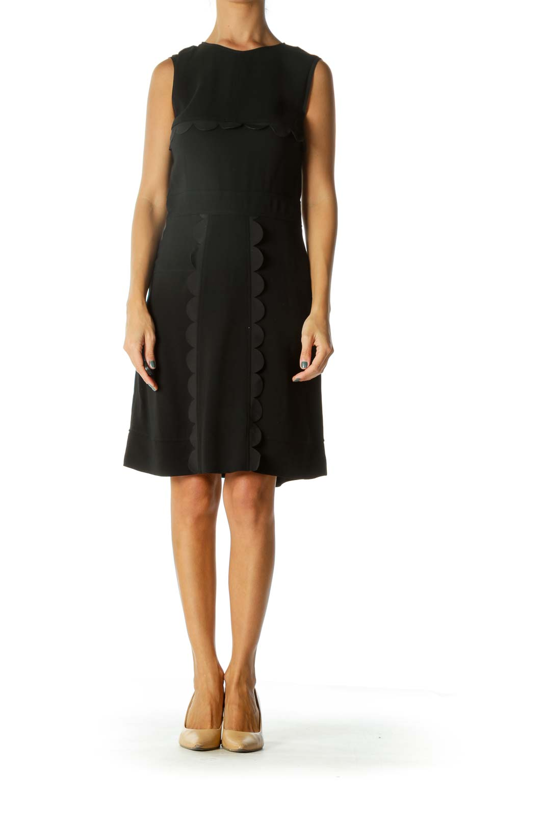 Black Silk Blend Designer Scalloped Detail Cocktail Dress