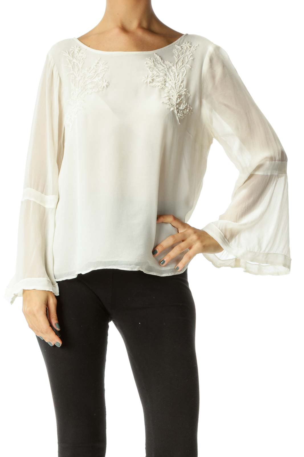 Cream Round Neck Knit Detail Long Sleeve Flared Blouse