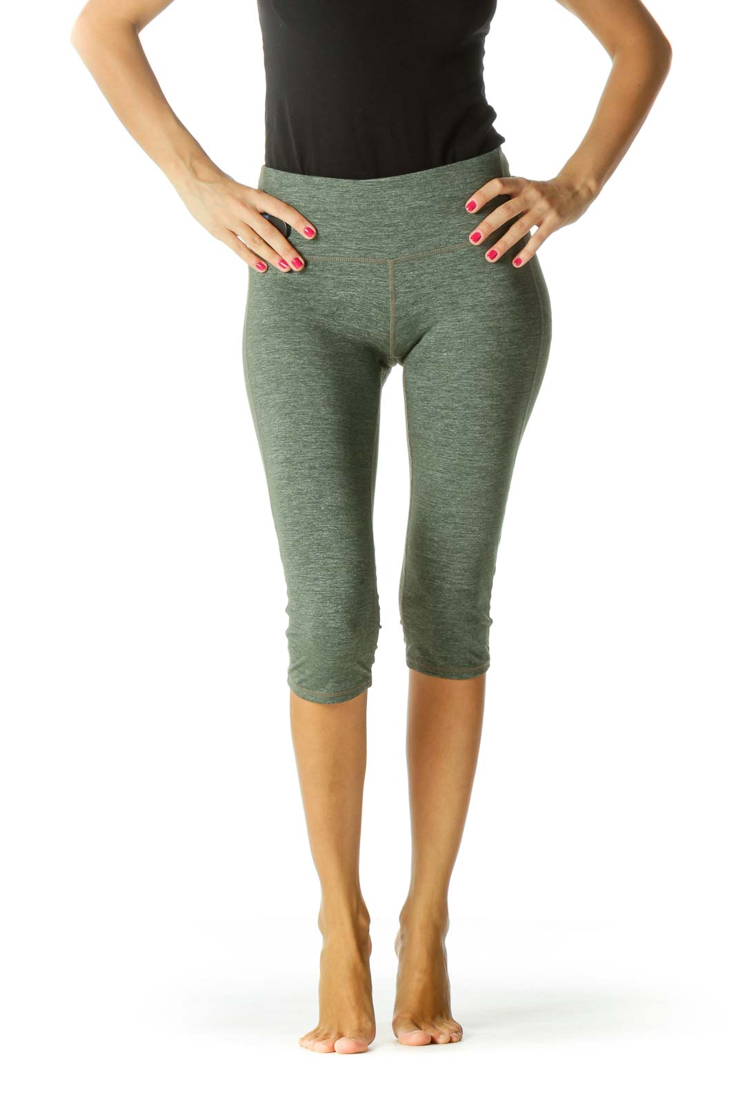 Green Stretch Active Cropped Pants
