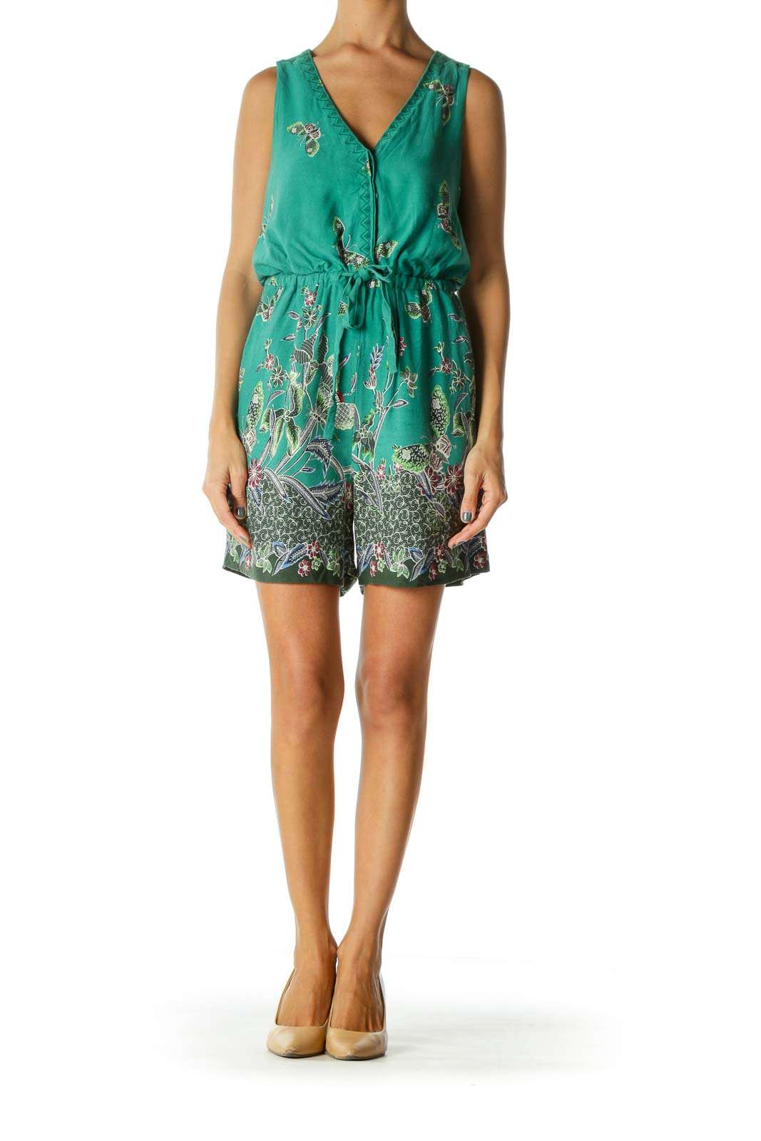 Green Pink Blue Cream Butterfly Floral Print Pocketed Romper