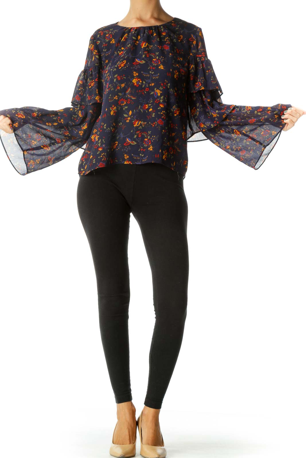Blue Yellow Red Floral Print Flared Sleeves Long Sleeve Top