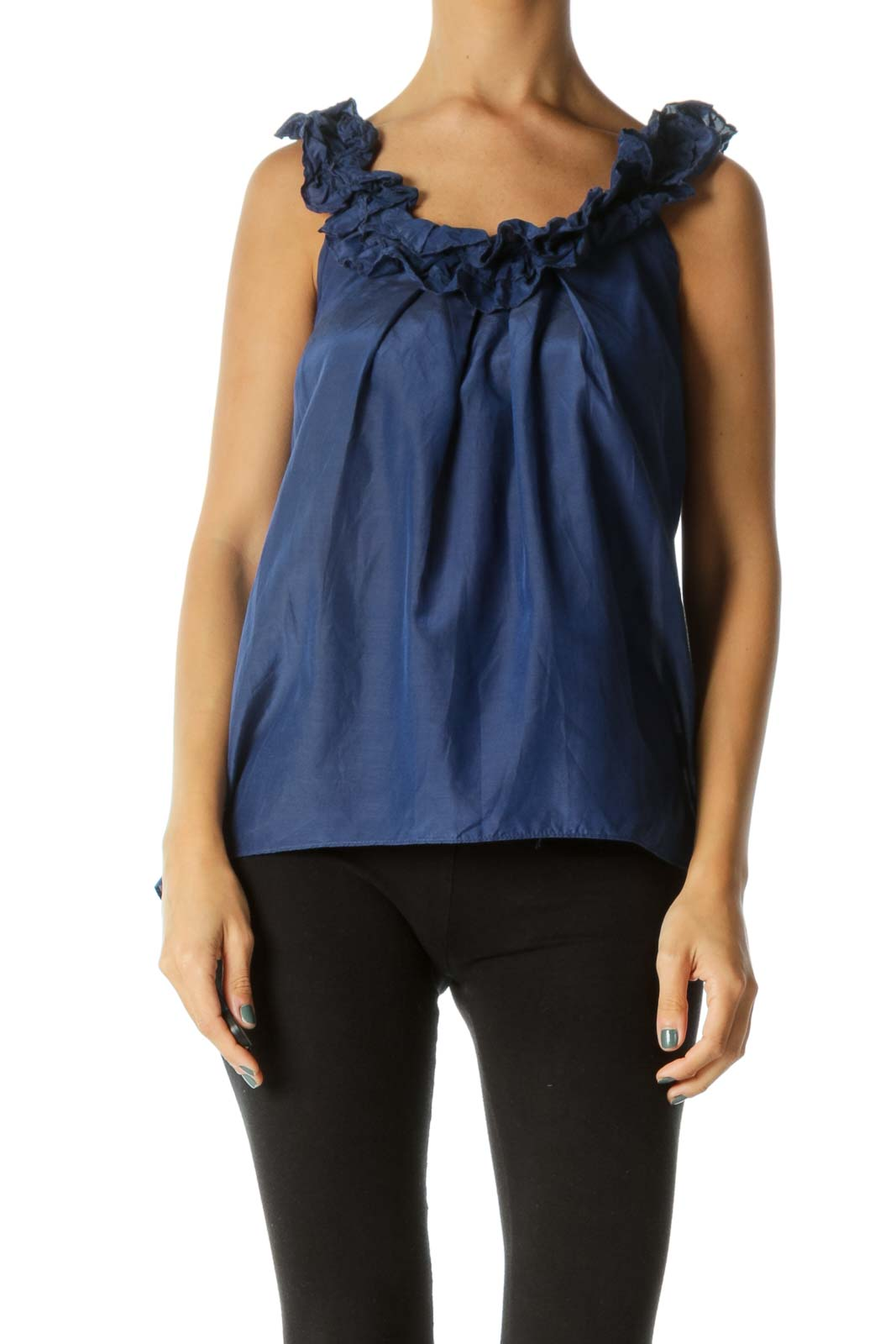 Blue V-Neck Ruffled Neckline 100% Silk Shiny Tank Top