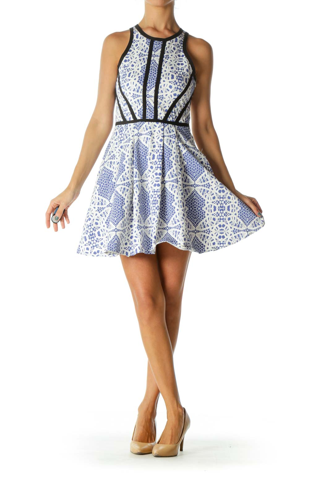 Blue White Black-Piping Detail Print Stretch Pocketed Dress