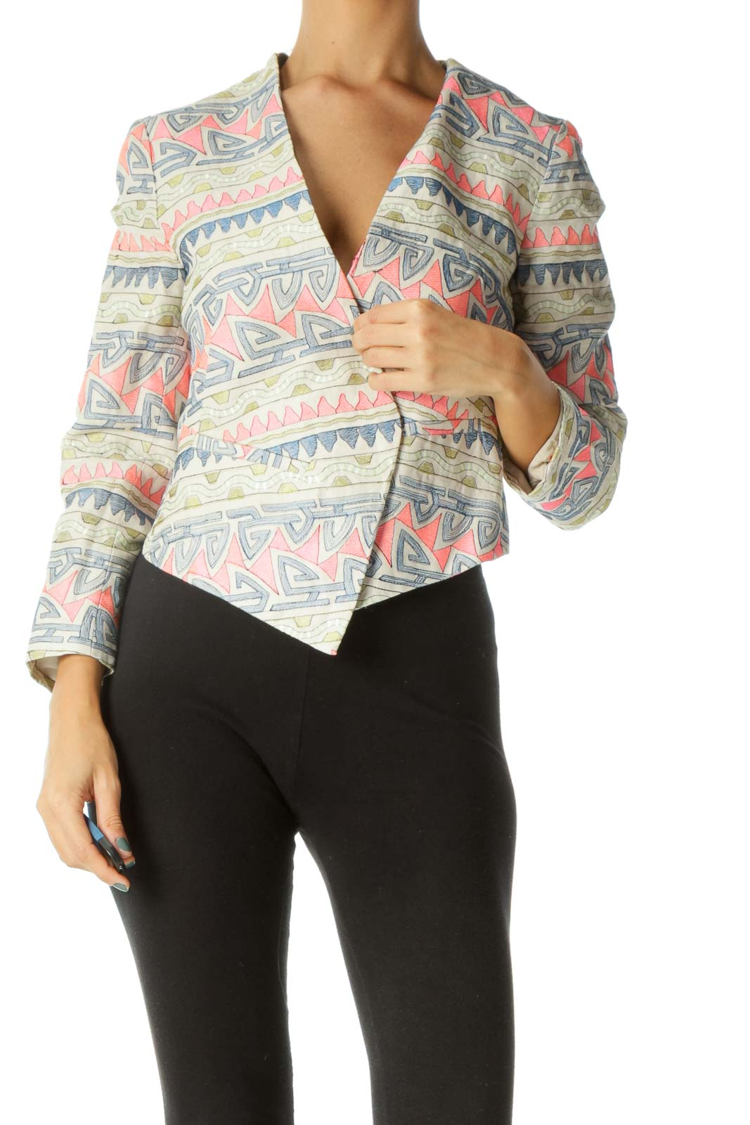 Beige Blue Pink Green Embroidered Blazer