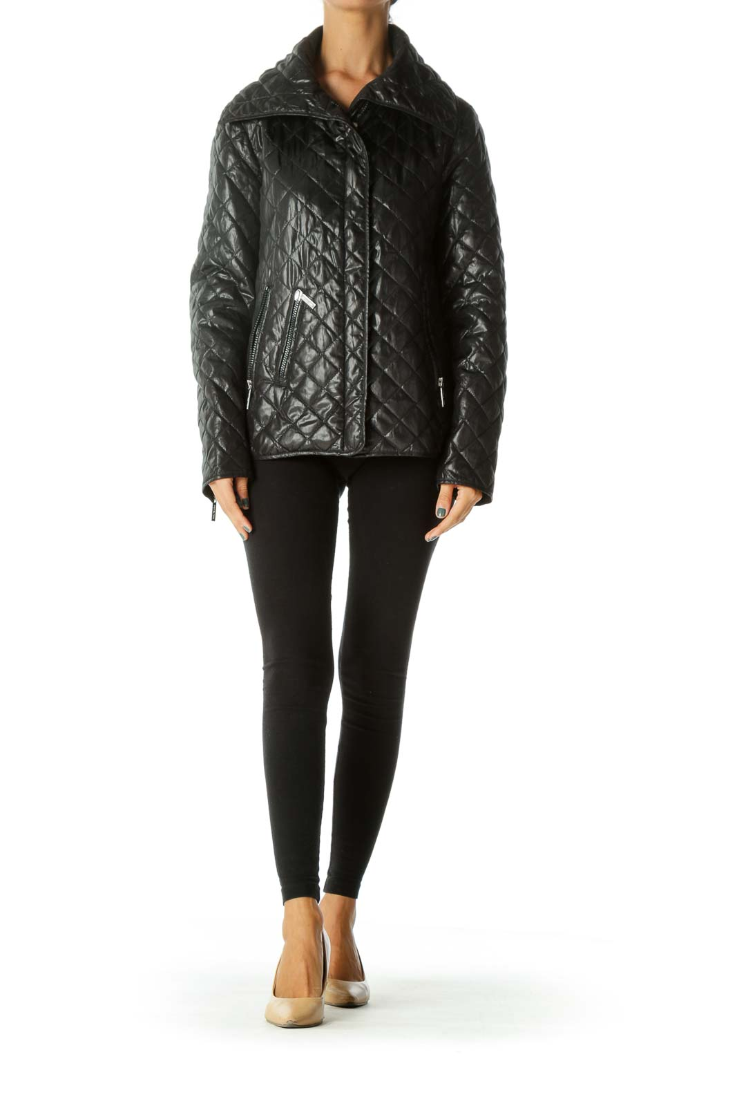 Black Zippered Quilted Padded Pocketed Jacket