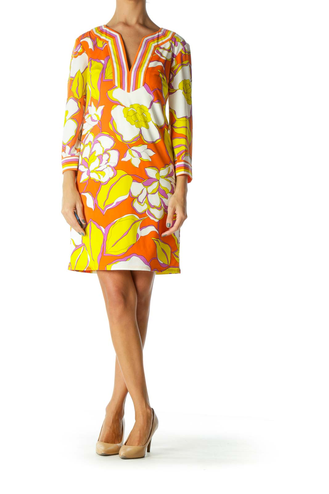 Purple Cream Yellow Orange V-Neck Floral Print Stretch Dress