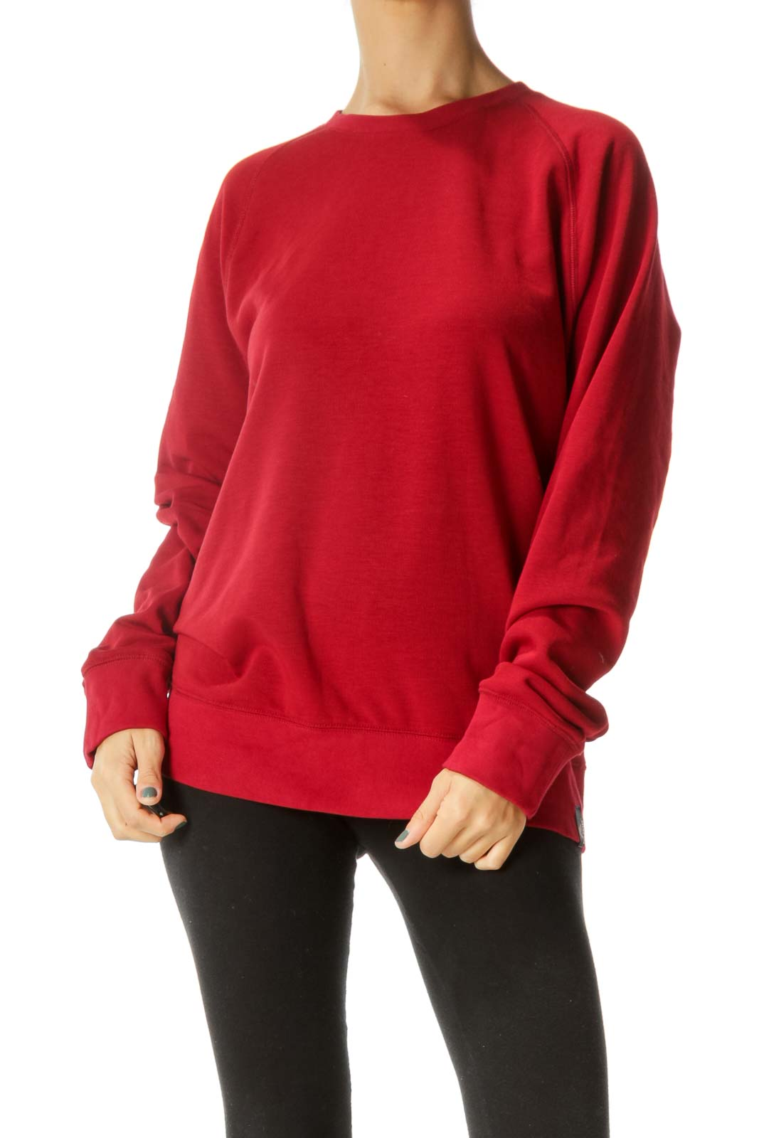 Red Round Neck Soft Pullover Sweater with Temperature Regulation Fabric Technology