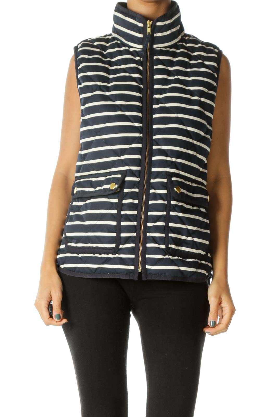 Cream Navy Blue Gold Hardware Pocketed Down Vest