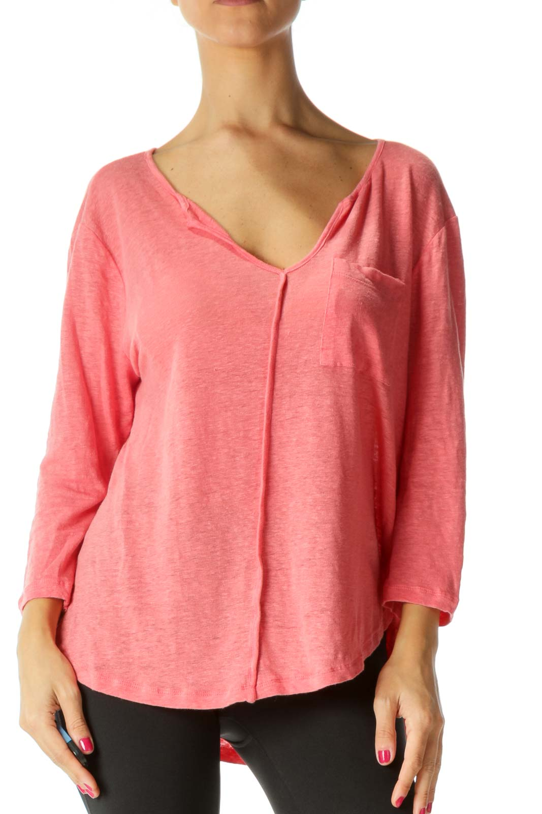 Pink V-Neck Breast Pocket 3/4 Sleeve Knit Top