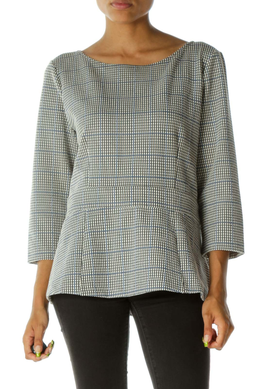 Cream Black Blue Boat Neck Textured Zippered Knit Top